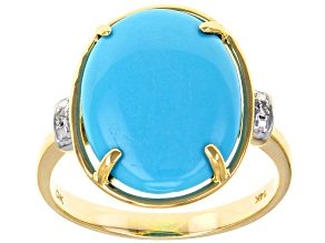 Sleeping Beauty Turquoise 14k Yellow Gold Ring .01ctw