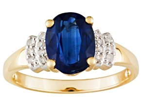 Blue Kyanite And Diamond 10k Yellow Gold Ring 1.97ctw