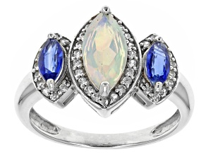 Ethiopian Opal, Kyanite And White Zircon 10k White Gold Ring 1.42ctw