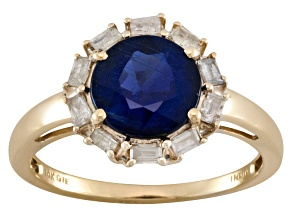Blue Kyanite And Champagne Diamond 10k Yellow Gold Ring 2.95ctw