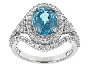 Blue Zircon 10k White Gold Ring 3.75ctw