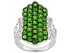 Womens Pave Design Ring Green Chrome Diopside White Topaz 3ctw Sterling Silver