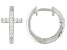 White Cubic Zirconia Rhodium Over Sterling Silver Cross Huggie Hoop Earrings 0.33ctw