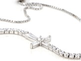 White Cubic Zirconia Rhodium Over Sterling Silver Adjustable Bracelet 3.32ctw