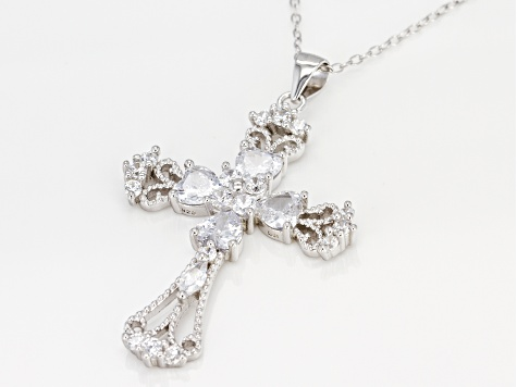 White Cubic Zirconia Rhodium Over Sterling Silver Cross Pendant With Chain 4.70ctw