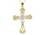 White Cubic Zirconia 18k Yellow Gold Over Silver Cross Pendant With Chain 4.70ctw