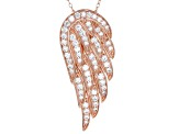 1.85ctw White Cubic Zirconia 18k Rose Gold Over Sterling Silver Angel Wing Necklace