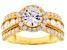 White Cubic Zirconia 18k Yellow Gold Over Silver Ring 5.80ctw