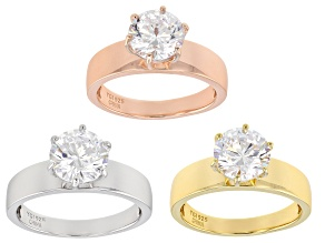 White Cubic Zirconia Rhodium, 18k Yellow, and Rose Gold Over Sterling Silver Solitaire Ring Set Of 3