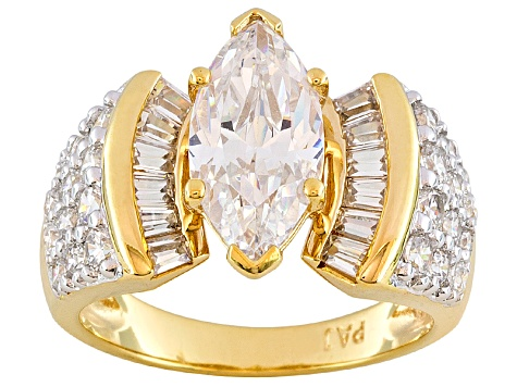 White Cubic Zirconia 18k Yellow Gold Over Silver Ring 5.70ctw