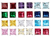 Multi Color Cubic Zirconia And Simulant Rhodium Over Silver Stud Earring Set Of 12, 19.40ctw