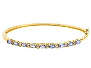 Blue Tanzanite 18k Gold Over Silver Bangle Bracelet 1.88ctw