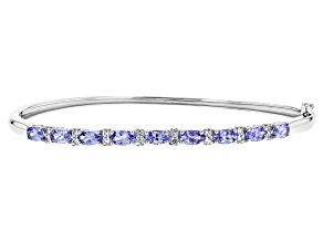 Blue Tanzanite Rhodium over Sterling Silver Bracelet 1.88ctw