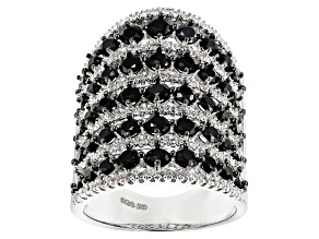 Black Spinel Rhodium Over Silver Ring 4.81ctw