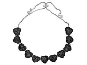 Black spinel sterling silver bolo heart bracelet 2.42ctw