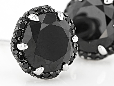 Black Spinel Sterling Silver Earrings 5.11ctw