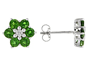 Green Chrome Diopside Sterling Silver Earrings 1.41ctw