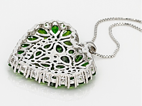 Green Chrome Diopside Sterling Silver Pendant With Chain 9.39ctw