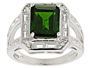 Green Chrome Diopside Sterling Silver Ring 5.25ctw