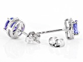 Blue tanzanite rhodium over sterling silver stud earrings 1.76ctw