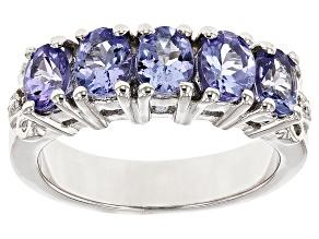 Blue Tanzanite Rhodium Over Silver 5-stone Band Ring 1.51ctw