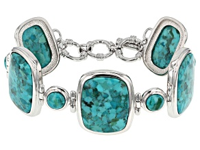 Blue Turquoise Rhodium Over Silver Bracelet