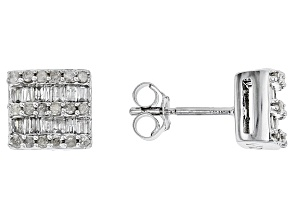 White Diamond 10k White Gold Earrings .38ctw