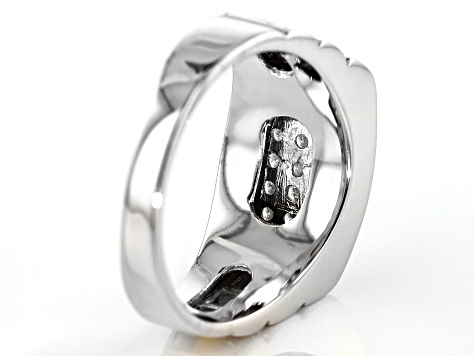 White Diamond 10k White And Yellow Gold Gents Ring .75ctw