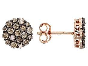 Champagne Diamond 10k Rose Gold Earrings .75ctw
