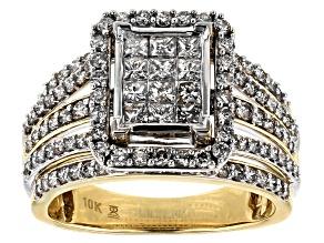 White Diamond 10k Yellow And White Gold Ring 1.50ctw