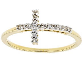 White Diamond 10k Yellow Gold Ring .12ctw