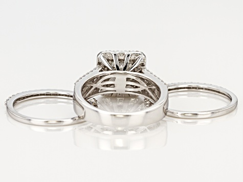 white diamond 10k white gold ring with 2 matching bands 1.50ctw