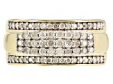 white diamond 10k yellow gold gents ring .90ctw