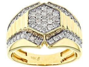 white diamond 10k yellow gold gents ring 1.00ctw