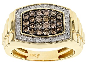 Champagne And Ahite Diamond 10k Yellow Gold Mens Ring 1.03ctw