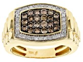 champagne and white diamond 10k yellow gold gents ring 1.03ctw