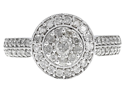 white diamond 10k white gold ring .75ctw