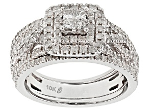 White Diamond 10k White Gold Ring with 2 Matching Bands 1.00ctw