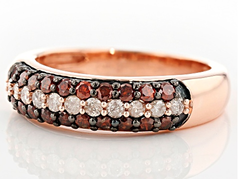 Red and White Diamond 10k Rose Gold Ring .75ctw