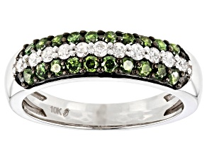 Green And White Diamond 10K White Gold Ring 0.75ctw