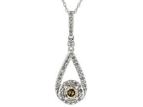 Champagne and White Diamond 10k White Gold Pendant .50ctw