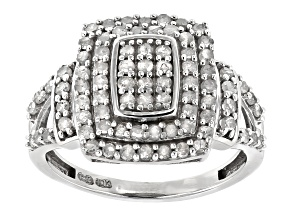 White Diamond 10k White Gold Cluster Ring 1.00ctw