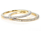 White Diamond 10k Yellow Gold Set of 2 Stackable Bands .15ctw