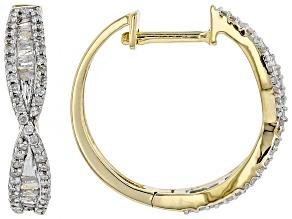 White Diamond 10k Yellow Gold Earrings .50ctw