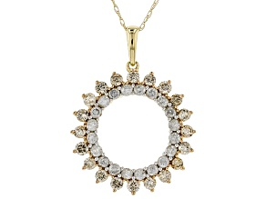 Champagne and White Diamond 10k Yellow Gold Pendant 1.08ctw