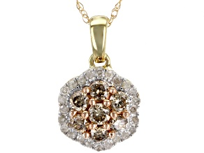 Champagne and White Diamond 10k Yellow Gold Pendant .50ctw