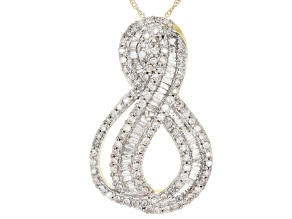 White Diamond 10k Yellow Gold Pendant 1.00ctw