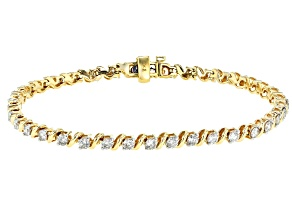 White Diamond 10k Yellow Gold bracelet 3.00ctw