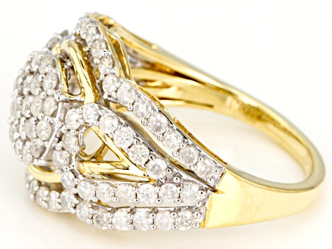 White Diamond 10k Yellow Gold Cluster Ring 1.50ctw