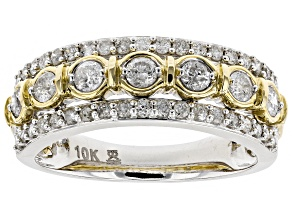 White Diamond 10k White and Yellow Gold Ring .75ctw